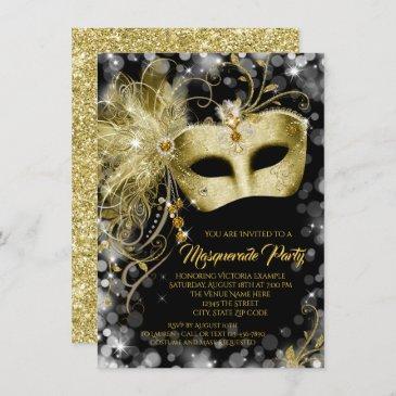 fancy black gold glitter masquerade party invitation