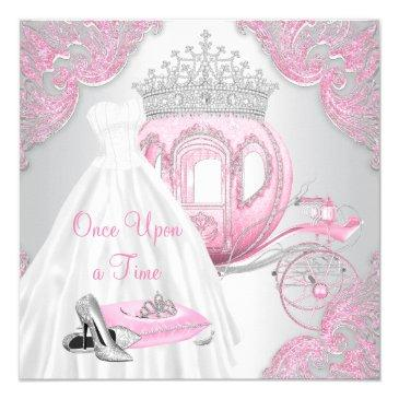 fancy pink cinderella princess birthday party invitations