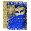 fancy royal blue gold glitter masquerade party invitation