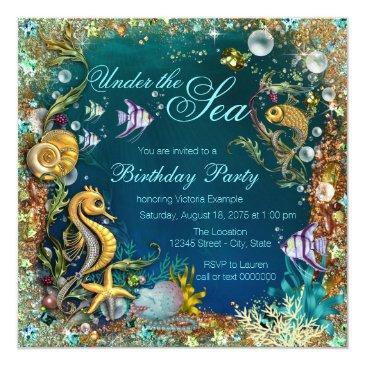 fancy under the sea birthday party invitation