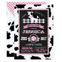 farm animal cowhide gingham country girl birthday invitations