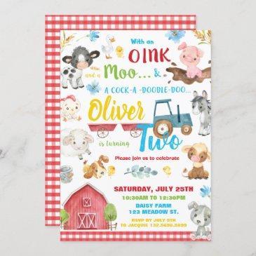 farm animals barnyard 2nd birthday turning two invitation