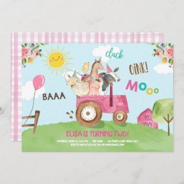 farm animals barnyard tractor pink farmhouse party invitation