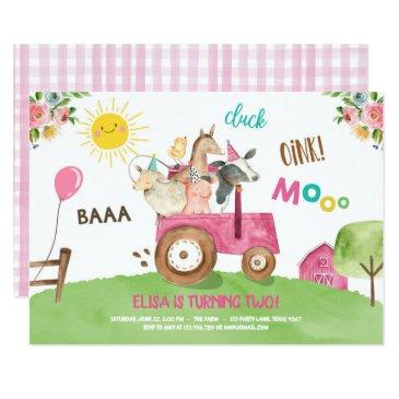 farm animals barnyard tractor pink farmhouse party invitation