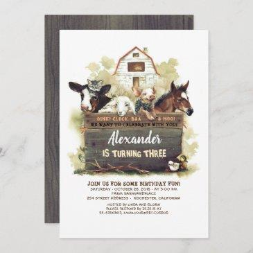 farm animals country birthday invitation