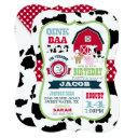 farm animals cowhide gingham country boy birthday invitations