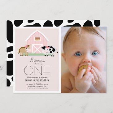 farm barnyard pink girl photo 1st birthday invitation