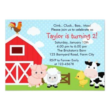 farm birthday invitations - boy (blue) - barnyard