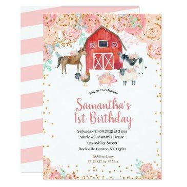farm girl birthday invitations pink peach