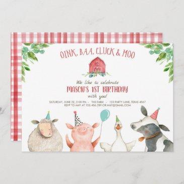 farm old macdonald barnyard red boy animals party invitation