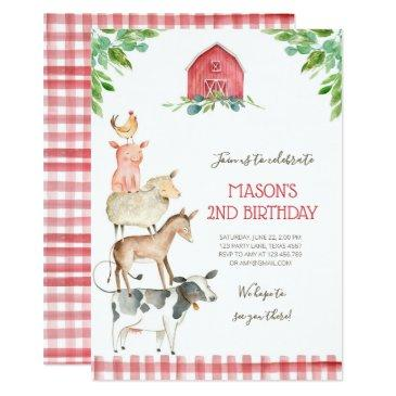 farm old macdonald barnyard red boy animals party invitations
