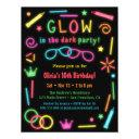 faux glow in the dark birthday party invitations