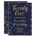 faux gold confetti navy blue chic 21st birthday invitation