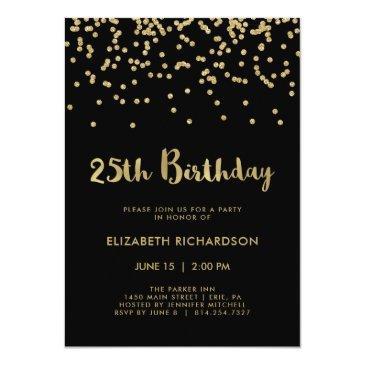 faux gold confetti on black | 25th birthday party invitation