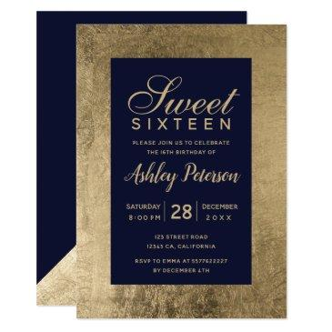 faux gold typography navy blue simple sweet 16 invitations
