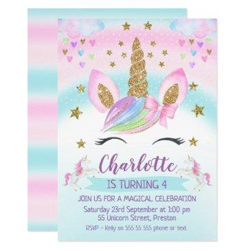 faux gold unicorn rainbow 1st birthday invitations