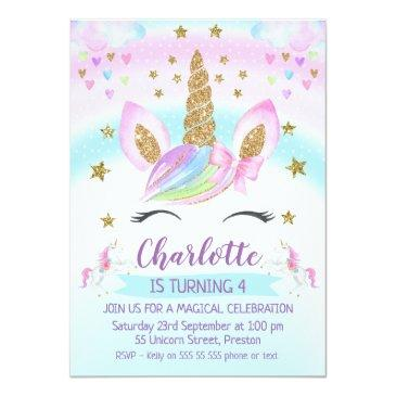 Small Faux Gold Unicorn Rainbow 1st Birthday Invitation Front View