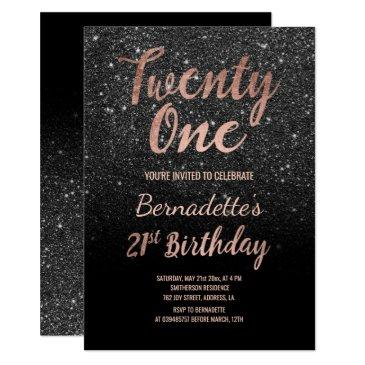 faux rose gold black glitter 21st birthday invitations