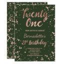 faux rose gold confetti hunter green 21st birthday invitation