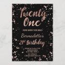 faux rose gold confetti splatters 21st birthday invitation