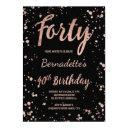 faux rose gold confetti splatters 40th birthday invitation