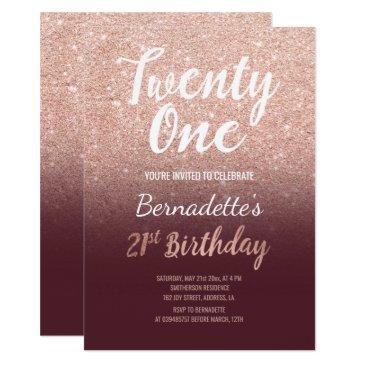 faux rose gold faux glitter burgundy ombre 21st bi invitation