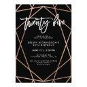faux rose gold geometric | 25th birthday party invitation