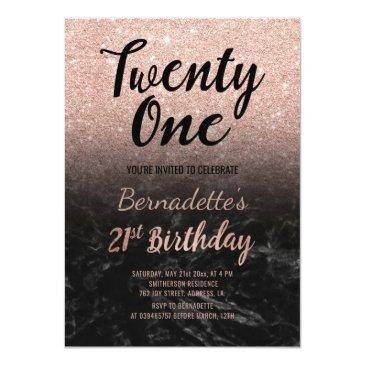 Small Faux Rose Gold Glitter Black Marble 21st Birthday Invitations Front View