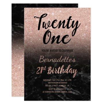faux rose gold glitter black marble 21st birthday invitations