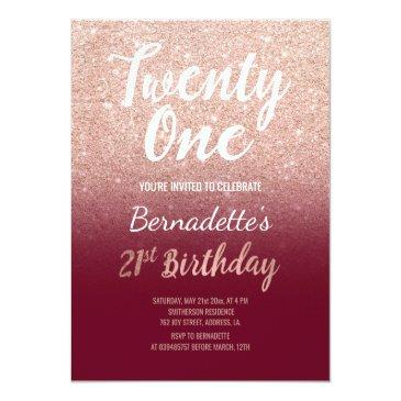 Small Faux Rose Gold Glitter Burgundy 21st Birthday Invitation Front View