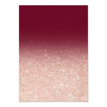 Small Faux Rose Gold Glitter Burgundy 21st Birthday Invitation Back View