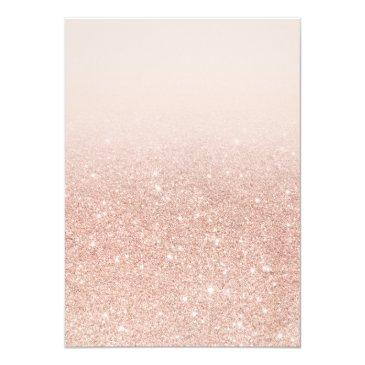 Small Faux Rose Gold Glitter Elegant Chic Quinceañera Invitations Back View