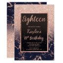 faux rose gold glitter navy marble 18th birthday invitation