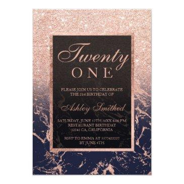 Small Faux Rose Gold Glitter Navy Marble 21st Birthday Invitation Front View