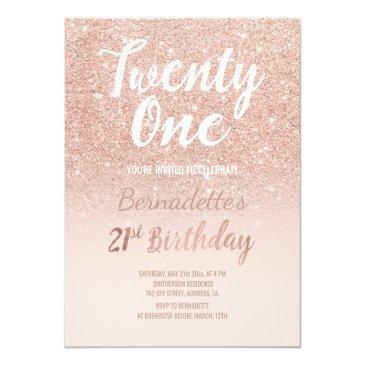 Small Faux Rose Gold Glitter Ombre 21st Birthday Invitations Front View