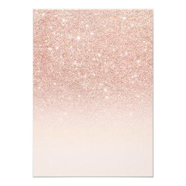 Small Faux Rose Gold Glitter Ombre 21st Birthday Invitations Back View