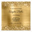 faux shiny gold glitter brushed foil monogram invitation