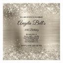 faux shiny platinum glitter brushed foil monogram invitation