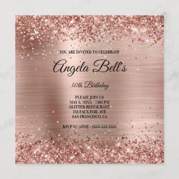 faux shiny rose gold glitter brushed foil monogram invitation