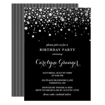 faux silver foil confetti | black birthday party invitation