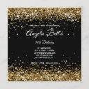 faux sparkly gold glitter black invitation