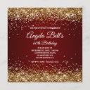 faux sparkly gold glitter burgundy ombre invitation