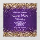 faux sparkly gold glitter royal purple ombre invitation