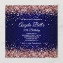 faux sparkly rose gold glitter monogram navy ombre invitation