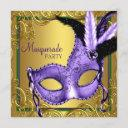 feather mask purple and gold masquerade party invitation