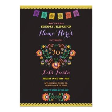fiesta birthday floral mexico 30th invitation