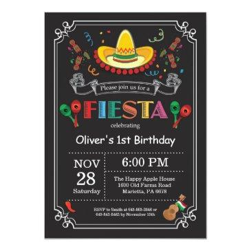 Small Fiesta Birthday Invitations Chalkboard Mexican Front View