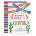 fiesta, girl, mexican, cactus, uno, 1st birthday invitation