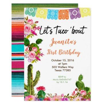 fiesta mexican 1st birthday party invitations