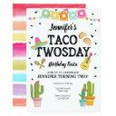 fiesta taco twosday cactus girl 2nd birthday party invitations